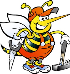 Hand-drawn of an Happy Working Carpenter Bee vector image vector image