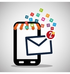 mobile phone receiving email marketing virtual vector image vector image