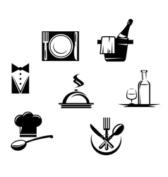 Restaurant icons and menu elements vector image vector image