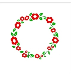 Retro red Flower ring frame decoration vector image