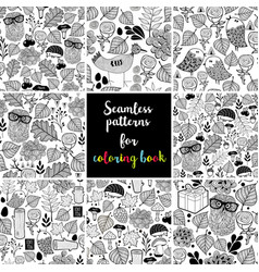 set of black and white seamless patterns for vector image vector image