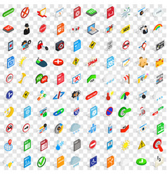 100 sings icons set isometric 3d style vector image