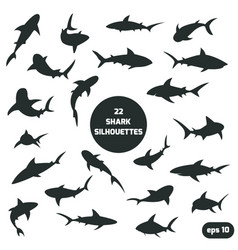 22 shark silhouettes set vector image