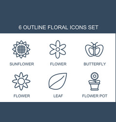 6 floral icons vector