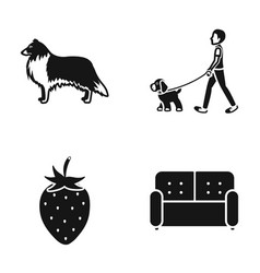 A dog walk with puppy and other web icon vector