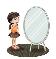 A girl facing the mirror vector image vector image