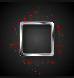 abstract dark technology background with circuit vector image vector image