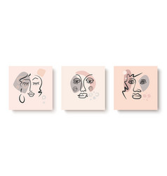 abstract pastel mapsdesign with faces hand-drawn vector image