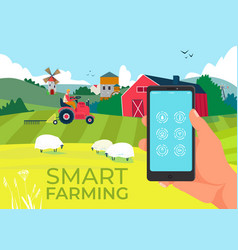 Agriculture technology in smartphone smart farm vector