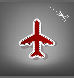 airplane sign red icon with vector image