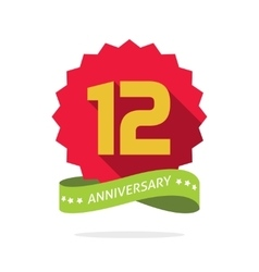 Anniversary 12 badge with shadow starburst vector