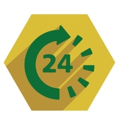 Around The Clock Flat Hexagon Icon with Long vector