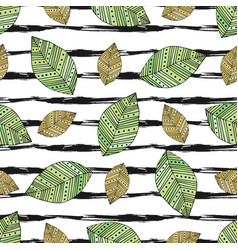 autumn seamless pattern with modern leaves on vector image