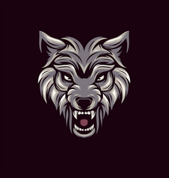awesome angry wolf logo design vector image
