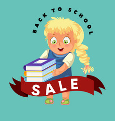 back to school sale poster shopping discounts for vector image
