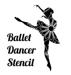 Ballet dancer stencil vector