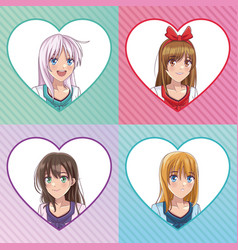 beautiful woman anime faces vector image