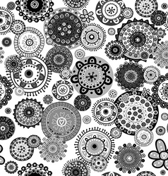 Black and white floral seamless over white vector image