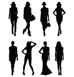 black silhouettes of fashion vector image