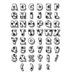 Block Font Outline vector image