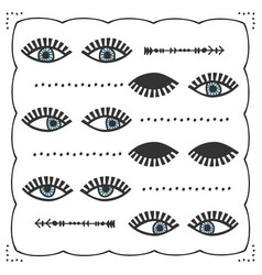 Blue abstract different feminine pair eyes set vector