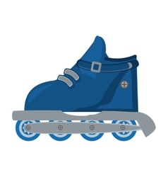 blue roller skate hobby activity vector image