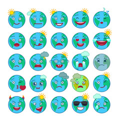 blue world globe emoticons set vector image