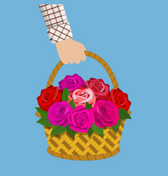 Bouquet of roses in the basket vector
