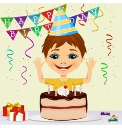 Boy celebrating his birthday smiling vector