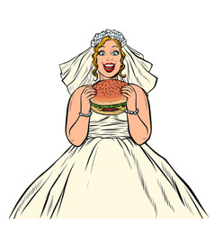 bride eats fast food burger hungry woman vector image