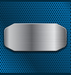 Brushed metal plate on blue perforated background vector