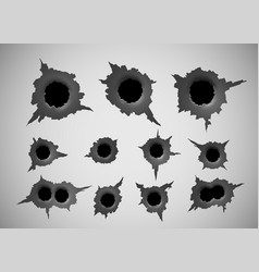 bullet hole damage and cracks on surface from vector image