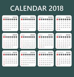 Calendar 2018 year in simple style calendar vector