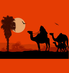 Camel caravan at sunset vector