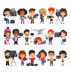 cameramen flat cartoon characters vector image
