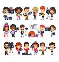 Cameramen flat cartoon characters vector