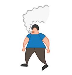 Cartoon man walking and smoking cigarette vector