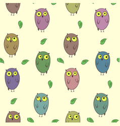 Childish pattern with cute colorful owls vector