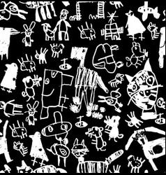 Children doodles draw chalk black and white vector