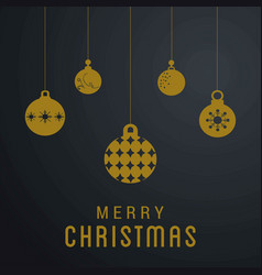 christmas card with snow flakes and balls vector image