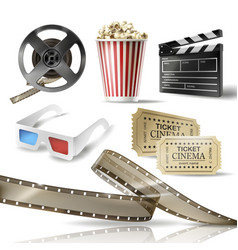 Cinema set of 3d realistic objects vector
