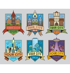 City badges1 color vector image