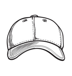 Clean unlabelled textile baseball cap sketch vector