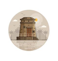 coast observation tower seaside line art icon vector image