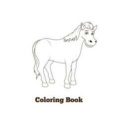 Coloring book horse cartoon vector