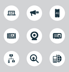 Communication icons set with ip camera female vector