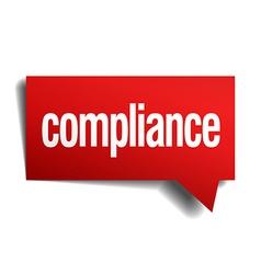 Compliance red 3d realistic paper speech bubble vector