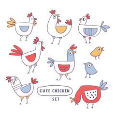 cute cartoon rooster chicken hen family doodle vector image