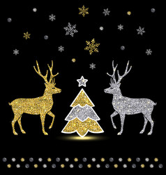 decorative golden shiny deer and christmas tree vector image