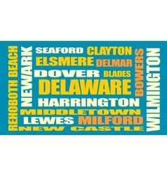 Delaware state cities list vector
